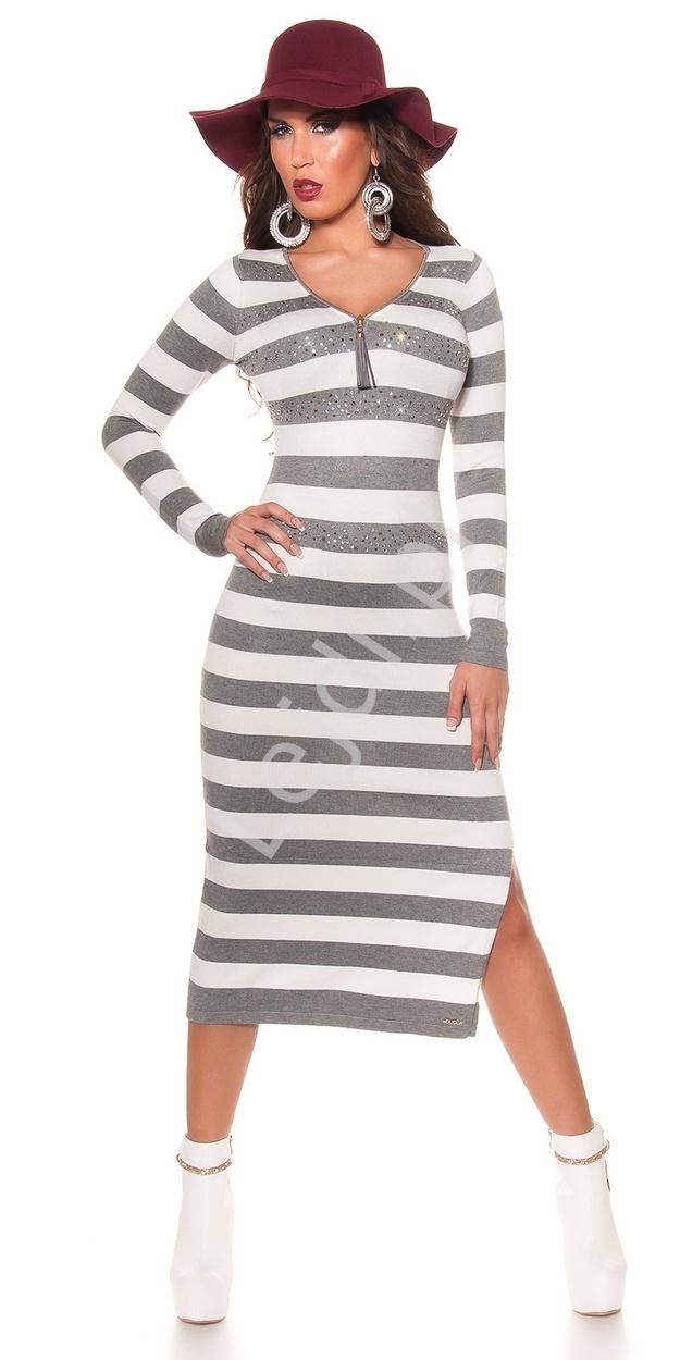 Dzianinowa sukienka w szaro białe paski długość 3/4, sukienka zdobiona kryształkami 8719-2 - Lejdi