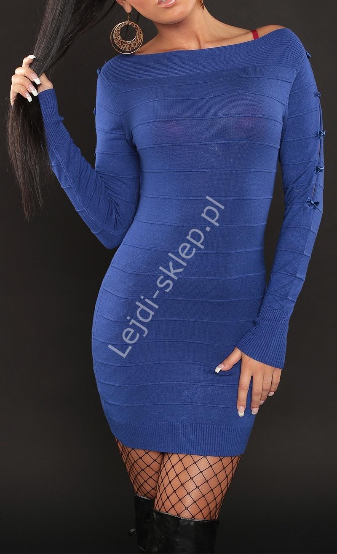 Dzianinowa sukienka z kokardkami na rękawach, chabrowa 3108 - Lejdi