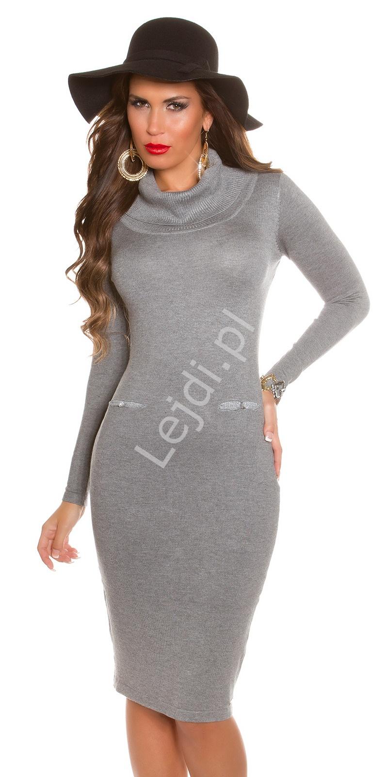 Dzianinowa szara sukienka z golfem w stylu Kate Middleton 8735 - Lejdi