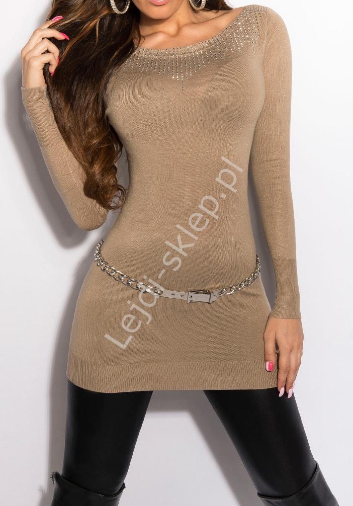 Dzianinowa tunika beżowa, srebrne jety| dzianinowe sukienki w kolorze beżowym, 8001 - Lejdi