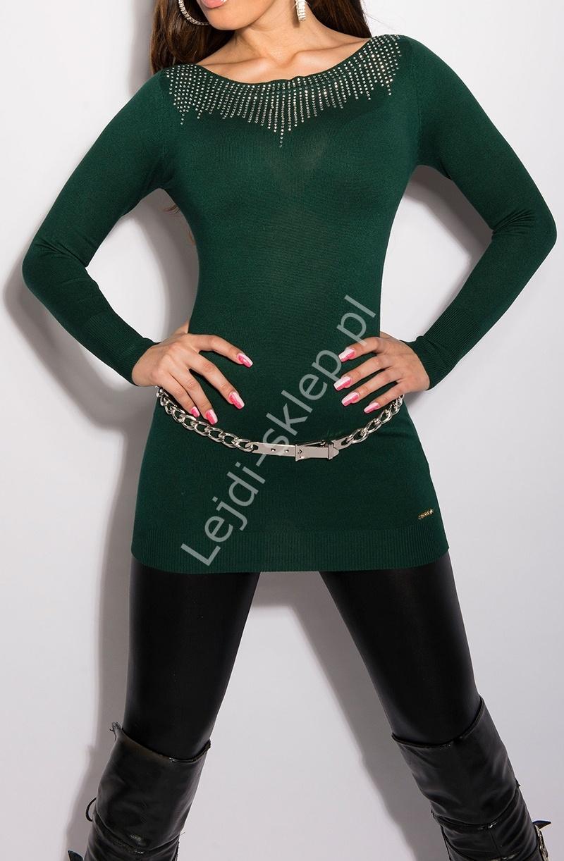 Dzianinowa tunika damska, srebrne jety, butelkowa zieleń| sweterkowe zielone tuniki, 8001 - Lejdi