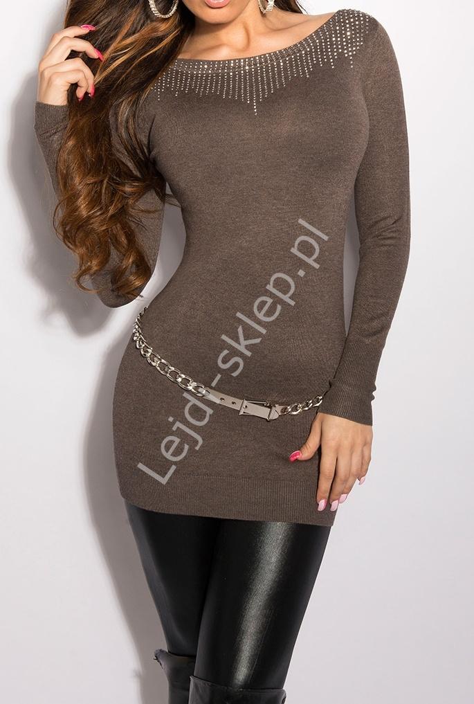 Dzianinowa tunika mocca, srebrne jety| dzianinowe sukienki w kolorze mocca, 8001 - Lejdi