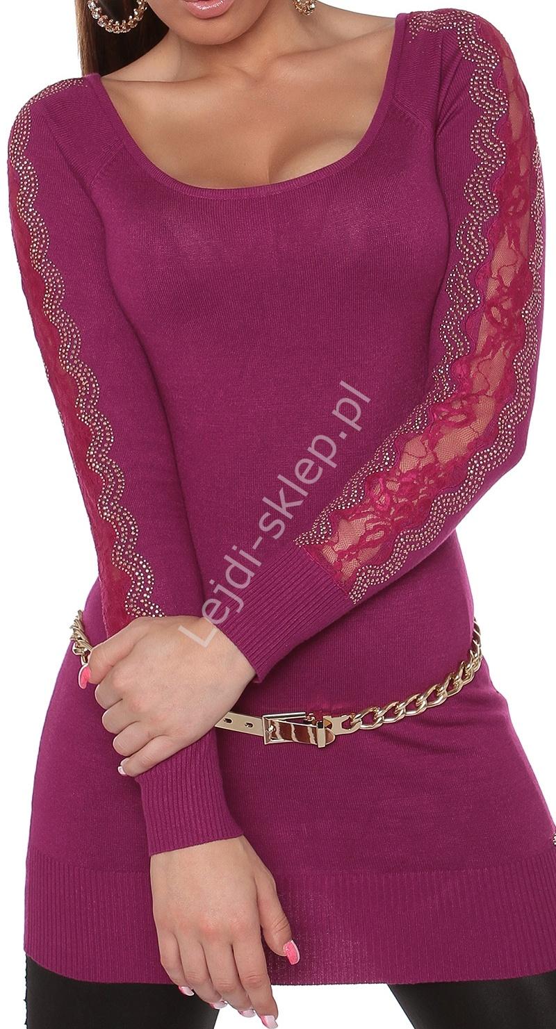 Dzianinowa tunika z kryształkami na ramionach i koronką w kolorze fuksja , 8077 - Lejdi