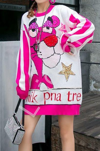 Dzianinowa tunika z różową Panterą Premium LUXURY - Lejdi