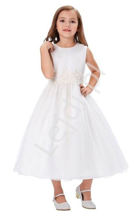 Dziecięca biała sukienka z perełkami na komunię zdobiona koronką - Lejdi