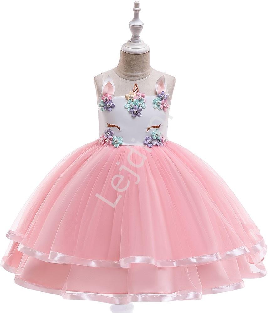Dziecięca sukienka jednorożec z różową tiulową spódnicą 002 - Lejdi