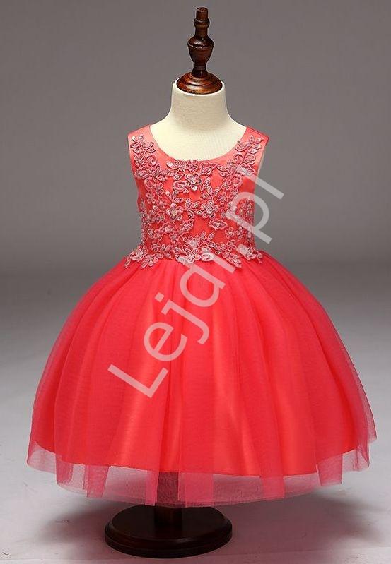 Dziecięca sukienka w kolorze arbuzowym z obfitą tiulową spódnicą dla dziewczynek - Lejdi