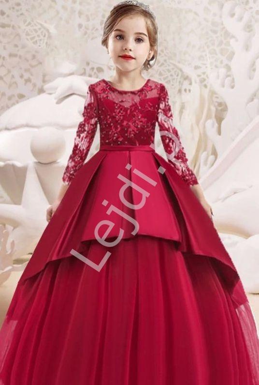 Dziecięca sukienka wieczorowa w kolorze czerwonego wina 233 - Lejdi