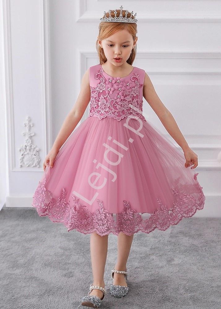 Dziecięca sukienka zdobiona kwiatkami 3D i haftem, pustynny róż 097 - Lejdi