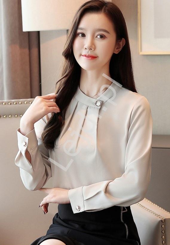 Elegancka bluzka koszulowa w beżowym kolorze 6902 - Lejdi