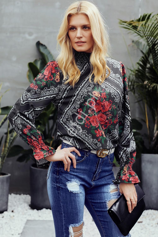 Elegancka bluzka z różami i bufiastymi rękawami - Lejdi