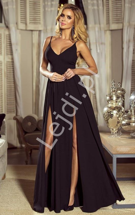 Elegancka długa sukienka czarna z rozporkiem na nodze, Nina - Lejdi