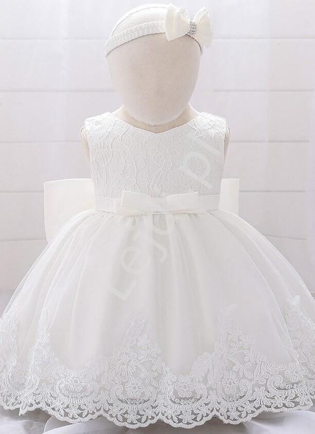 Elegancka dziecięca sukienka na chrzciny w komplecie z opaską - Lejdi