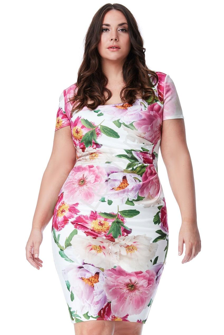Elegancka kwiatowa sukienka z miękkiej pianki, Plus Size 1019P - Lejdi