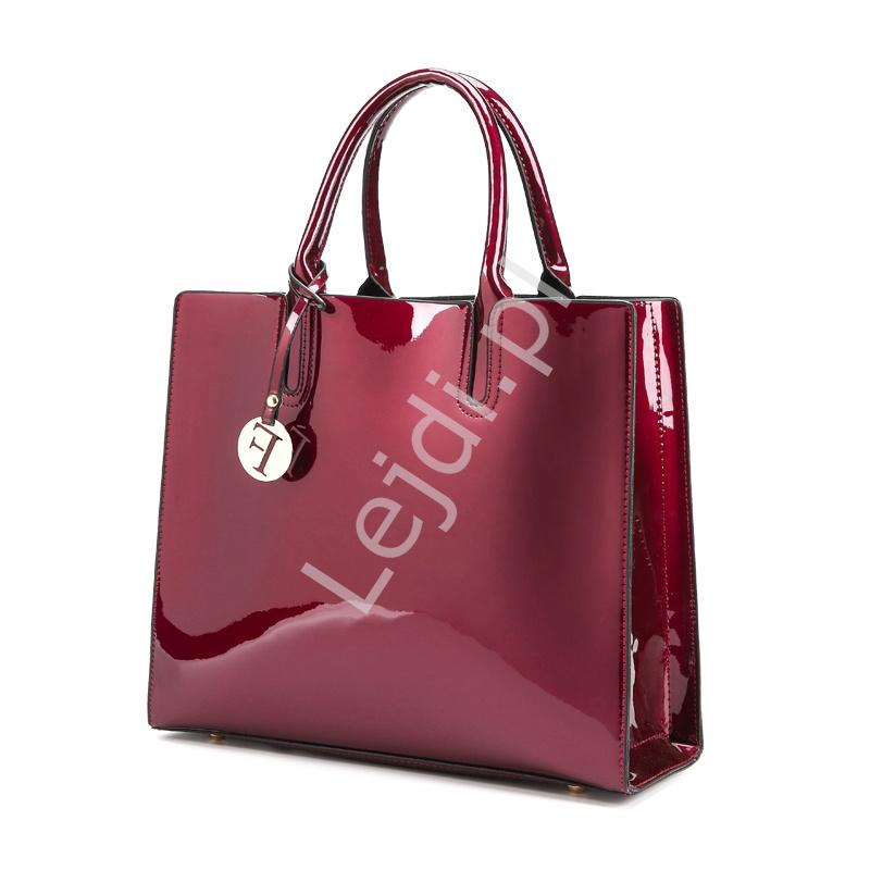 3abe3165d872 Elegancka lakierowana torebka w kolorze ciemnego wina z połyskującymi  drobinkami