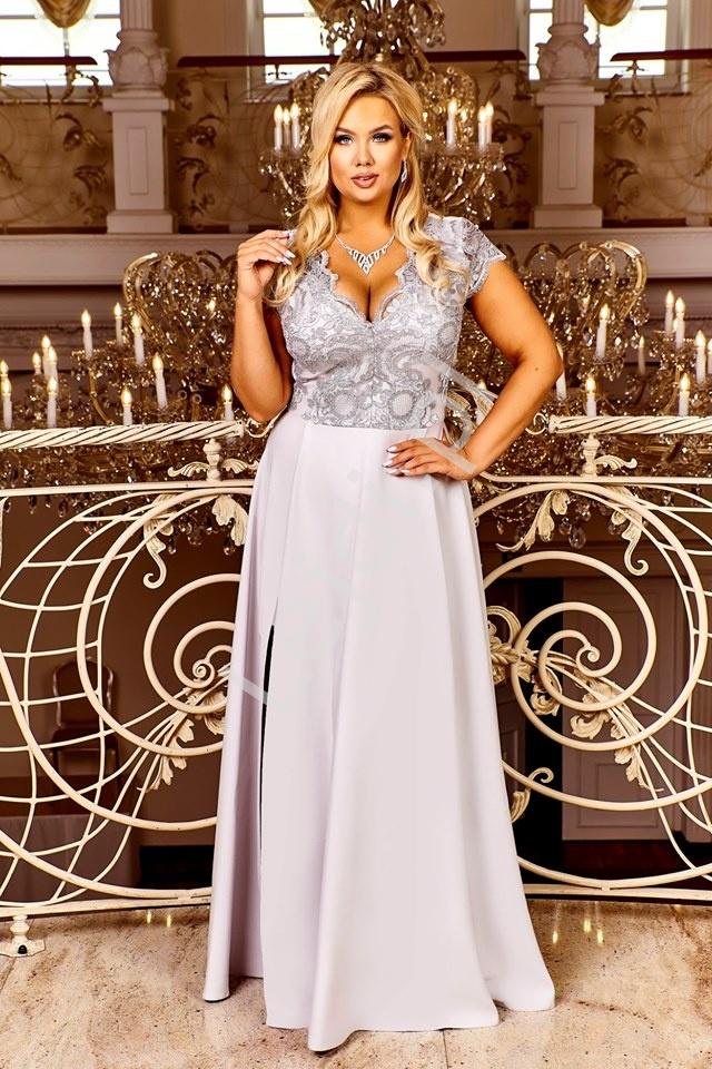 Elegancka popielata sukienka z krótkim koronkowym rękawem- Crystal 2 - Lejdi