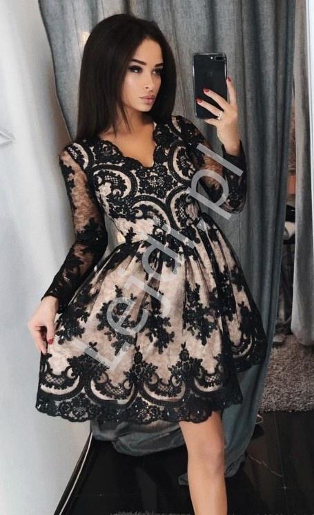 Sukienka na studniówkę rozkloszowana sukienka koronkowa - Amelia - Lejdi