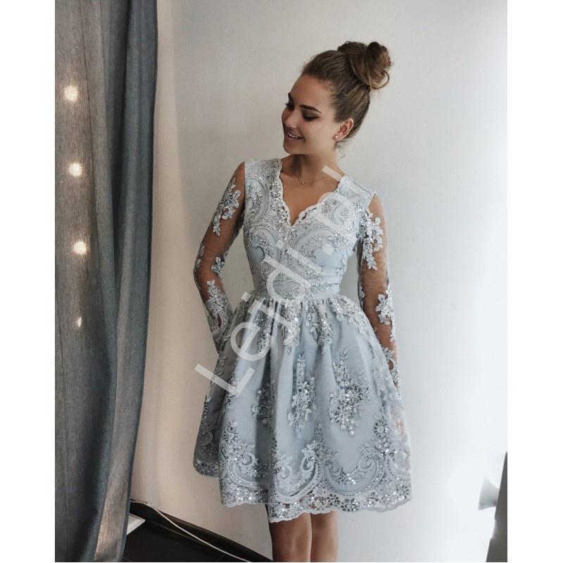 bc289038b84c15 Sukienka na wesele, srebrna koronkowa rozkloszowana - Amelia - Lejdi.pl