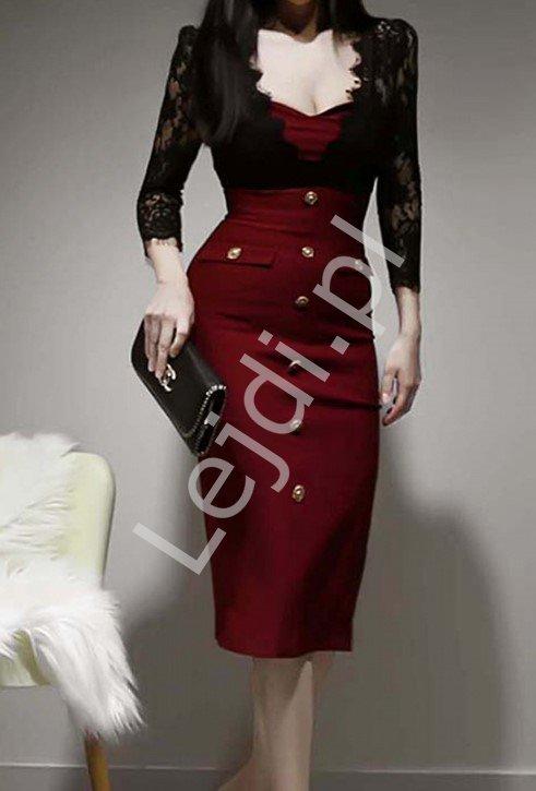 Elegancka sukienka bordowa z czarną koronką 9683 - Lejdi