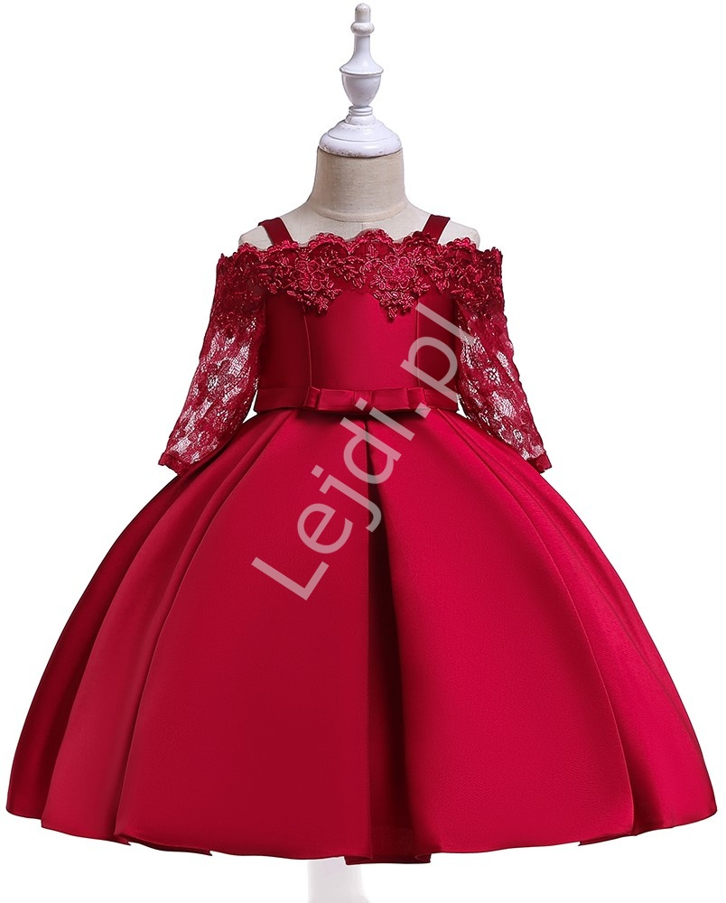 Elegancka sukienka dla dziewczynki w kolorze wina 083 - Lejdi