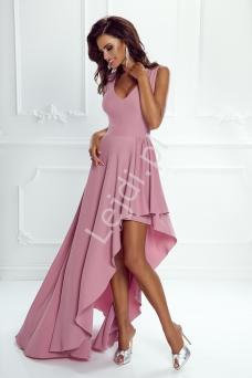 43ecdd5da8 Elegancka sukienka z krótszym przodem ukazującym nogę Inez pudrowy róż