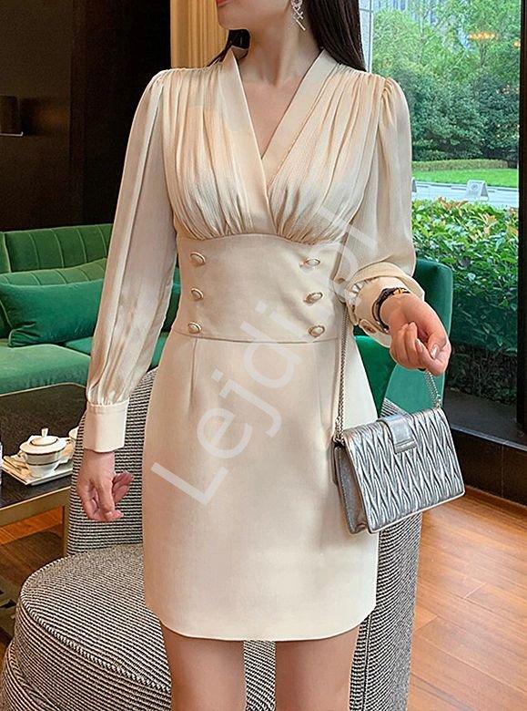 Elegancka sukienka z szyfonową górą i złotymi guzikami 6353 - Lejdi