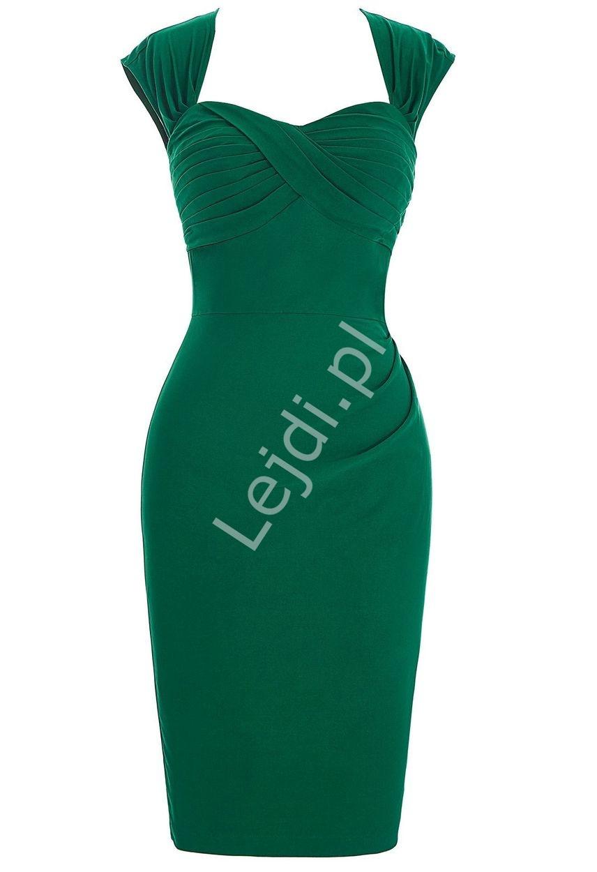 Elegancka sukienka zielona z zakładkami na biuście - Lejdi