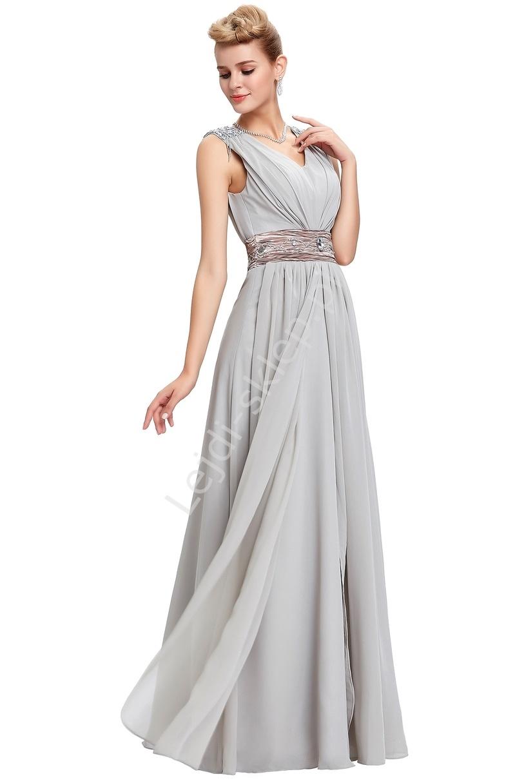 Elegancka szara długa suknia sylwester / studniówka , cyrkonie na ramionach - Lejdi