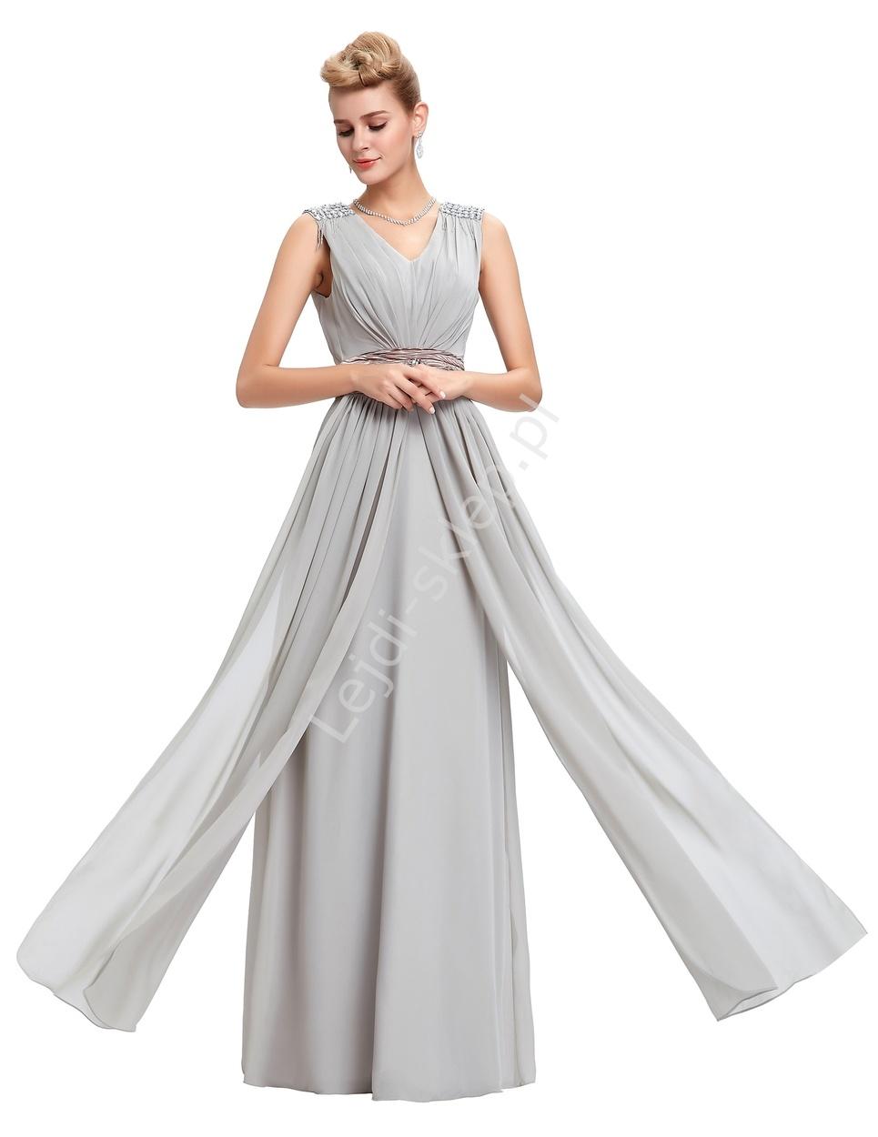77a383e734 Elegancka szara długa suknia sylwester   studniówka