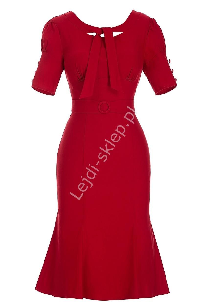 Elegancka wizytowa czerwona sukienka | sukienka biznesowa - Lejdi