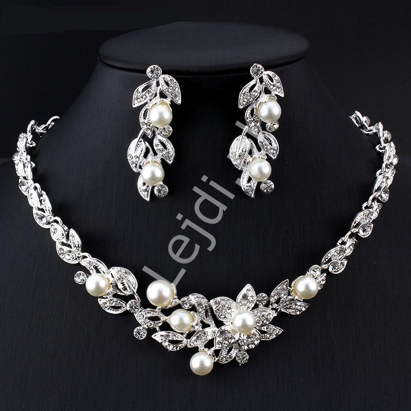 ef96dc5b5fd33d Elegancki komplet biżuterii, naszyjnik i kolczyki z perełkami i kryształkami