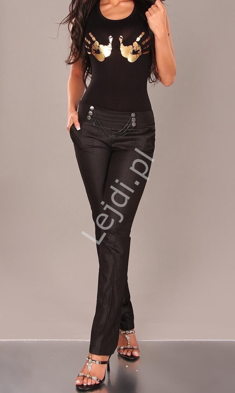 Eleganckie czarne spodnie z łańcuszkami w pasie - Lejdi