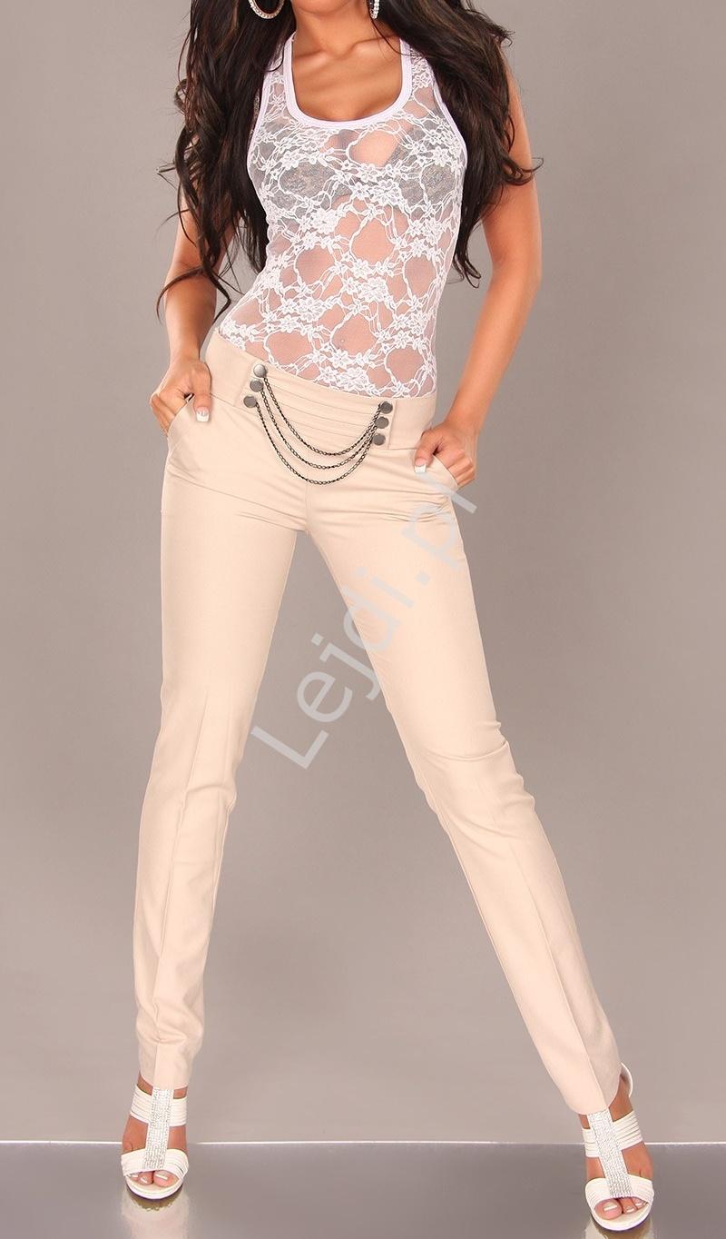 Eleganckie spodnie z łańcuszkami w pasie - Lejdi