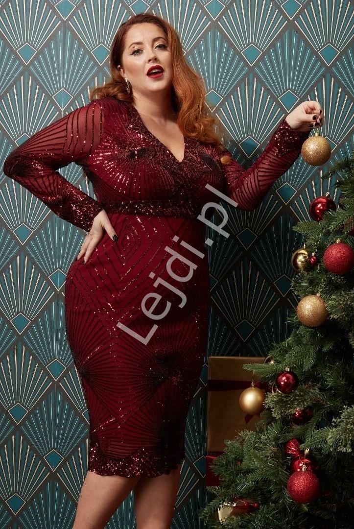 Fenomenalna sukienka cekinowa w kolorze czerwonego wina, plus size Goddiva 2617p - Lejdi