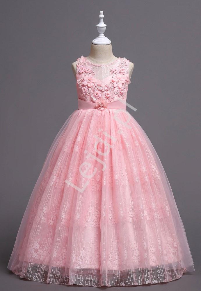 Fenomenalna sukienka dla dziewczynki w jasno różowym kolorze, koronka, tiul 831 - Lejdi