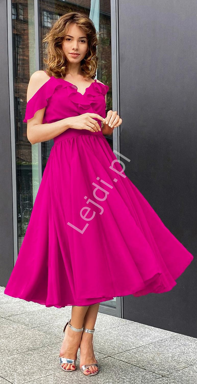Fenomenalna sukienka midi w kolorze amarantowym, rozmiary od 34 do 52, m393 - Lejdi