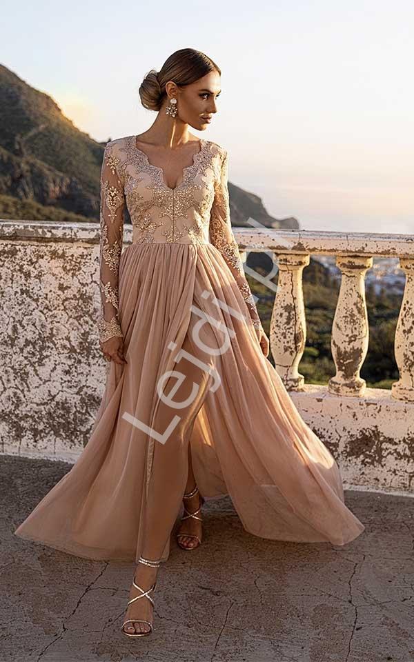 Fenomenalna sukienka na wesele, dla druhny w kolorze jasnego karmelu, Adel - Lejdi