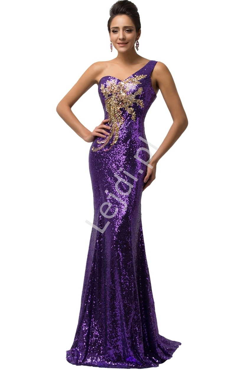 Fioletowa cekinowa suknia z kwiatowym złotym wzorem - Lejdi