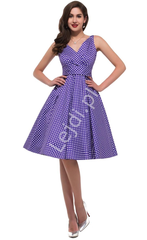 Fioletowa rozkloszowana sukienka w kropki | sukienka pin up na wesele 6295-6 - Lejdi