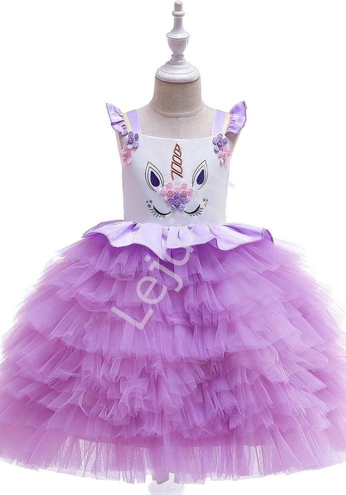 Fioletowa sukienka dla dziewczynki z jednorożcem - Lejdi