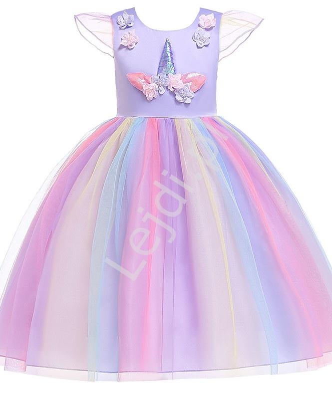 Fioletowa sukienka jednorożec dla dziewczynki 003 - Lejdi