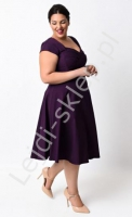 Sukienka w stylu pin-up PLUS SIZE, swingdress |fioletowa