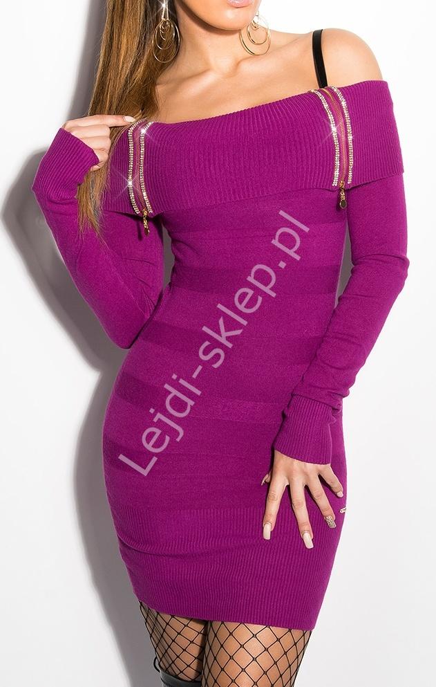 Fioletowa sukienka z dzianiny z zamkami | sukienki z dekoltem CARMEN - Lejdi