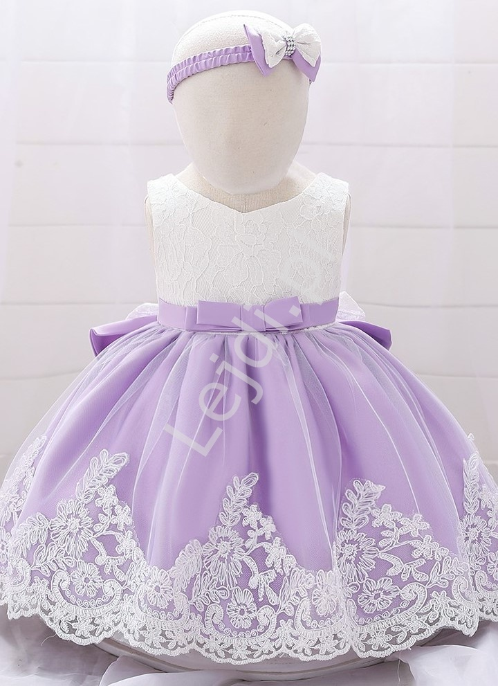 Fioletowo biała sukienka dla małej księżniczki, komplet z opaską - Lejdi