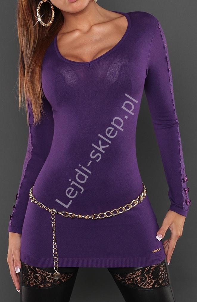 Fioletowy sweter zdobiony koronka na rękawach, 8061 - Lejdi