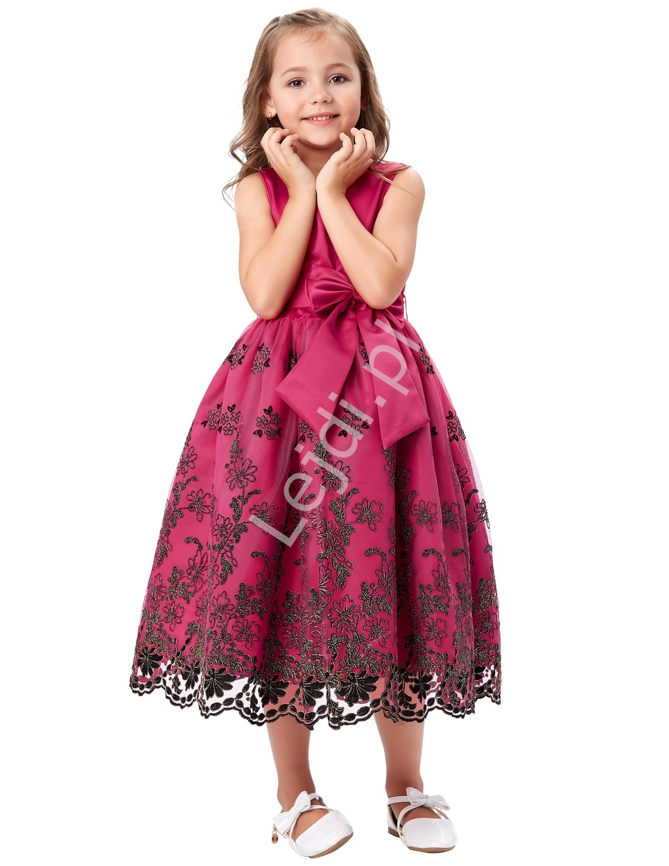 Fuksjowa sukienka z gipiurową koronką | sukienki dla dziewczynek - Lejdi