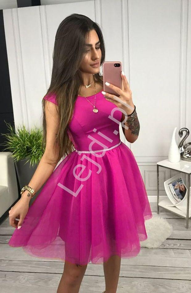 Fuksjowa sukienka z tiulową spódnicą Cindy - Lejdi