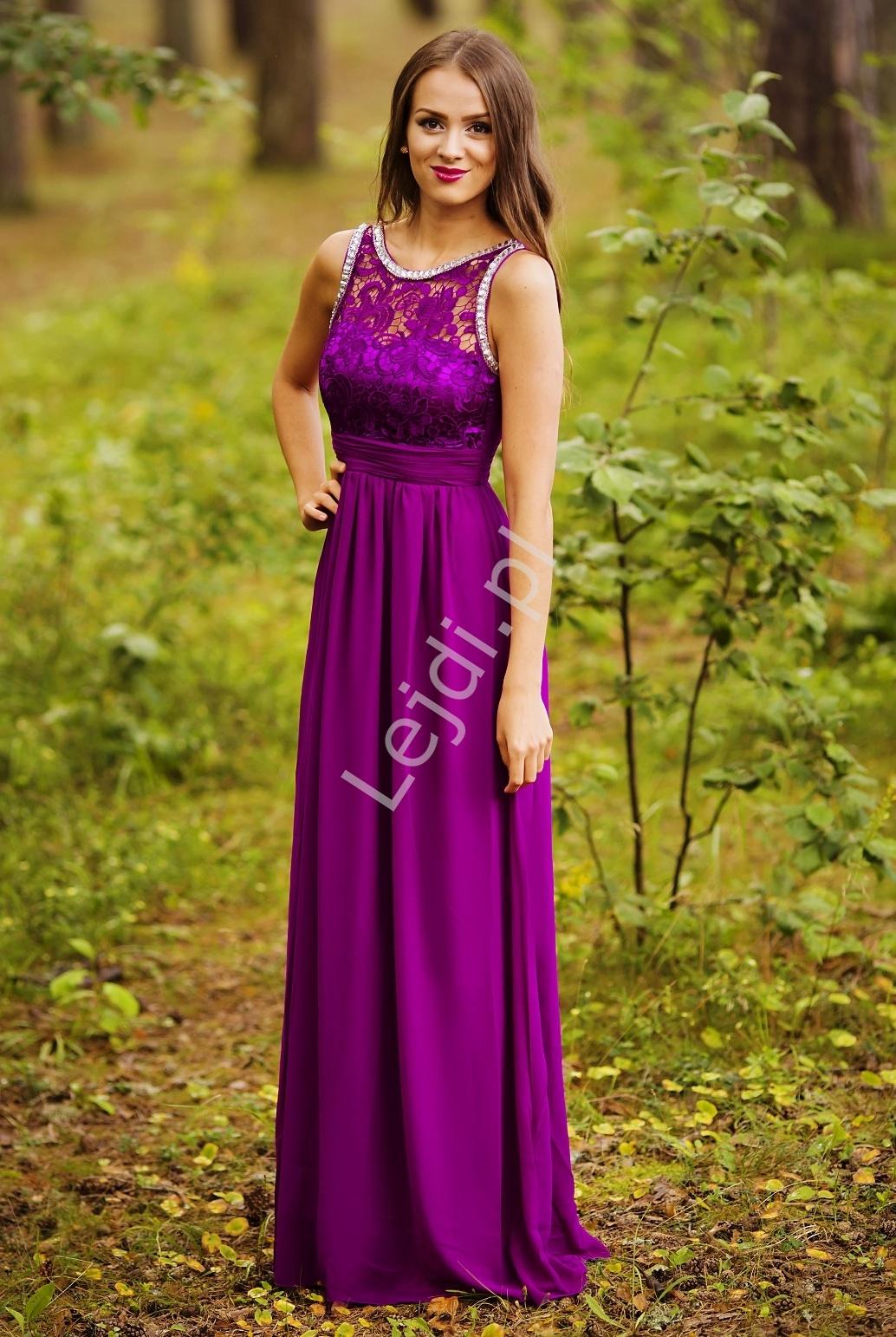 Fuksjowa suknia z kryształkami i gipiurową koronką - Lejdi
