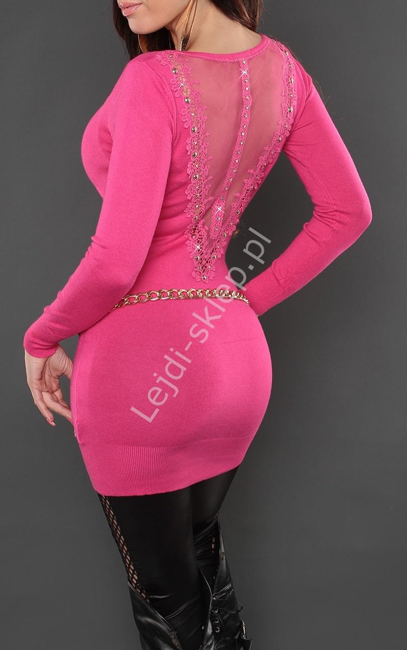 Ciemnoróżowa tunika lub sukienka z taśmą gipiurową na plecach | tuniki ciemny róż, 8084 - Lejdi