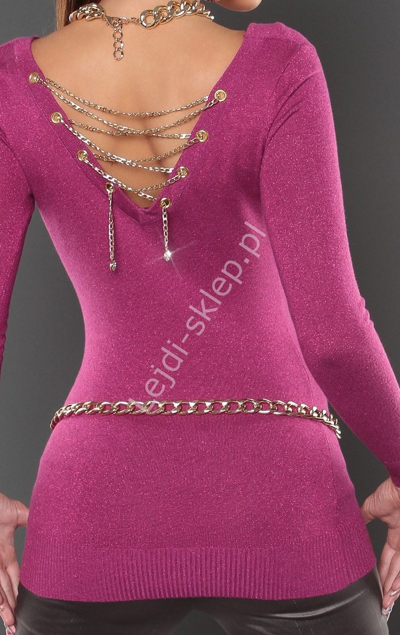 Fuksjowy sweter przeplatany metaliczną nicią - złoty łańcuszek z tyłu 8041 - Lejdi